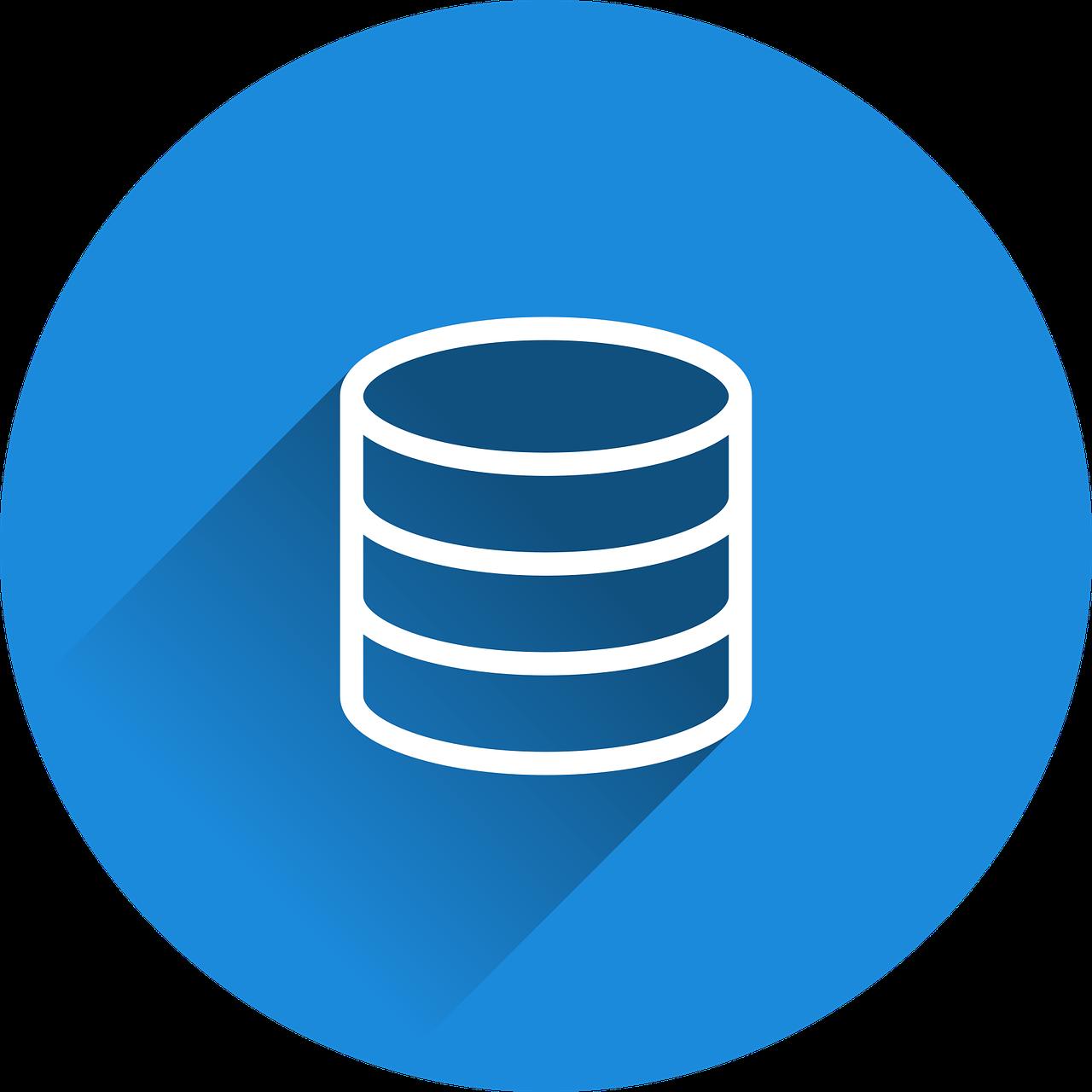 Valge andmebaasi kujutis sinisel taustal