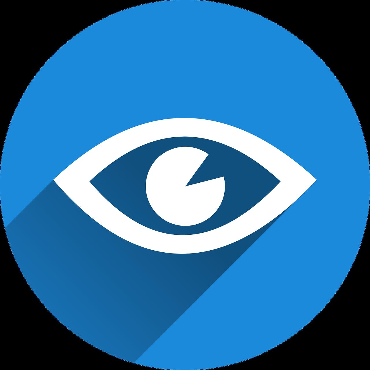 Valge silma ikoon sinisel taustal