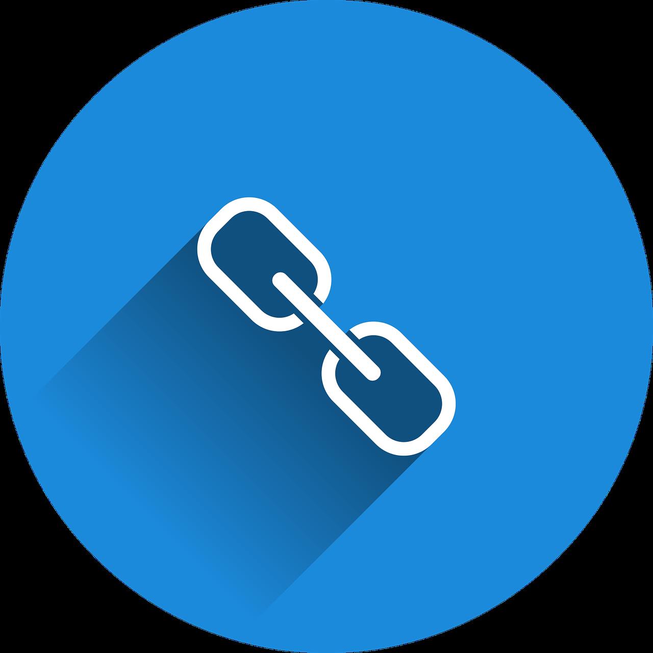 Valge lingi märk (keti ahel) sinisel taustal